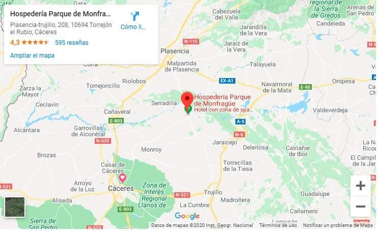 Mapa Hospederia Parque de Monfragüe