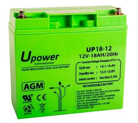 Master U-Power UP – Batería Plomo AGM 18Ah 12V