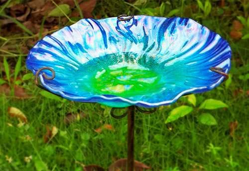 Comedero de pájaros de Cristal con estaca de Metal para jardín y Exteriores